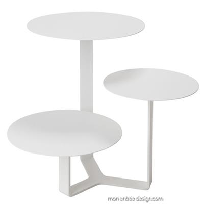 Table Basse Design 3 Plateaux Trilogy Blanc